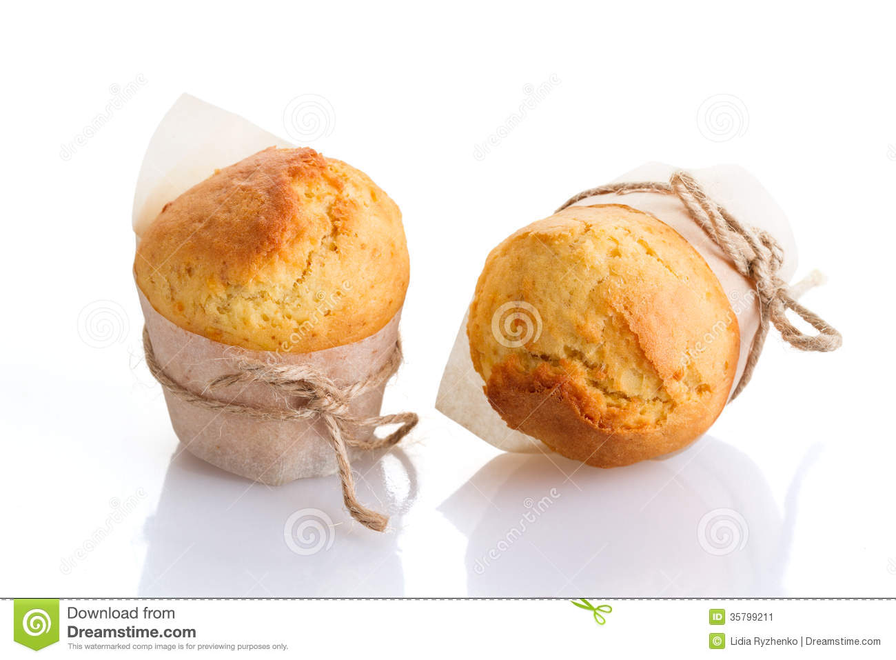 Two freshly made muffins