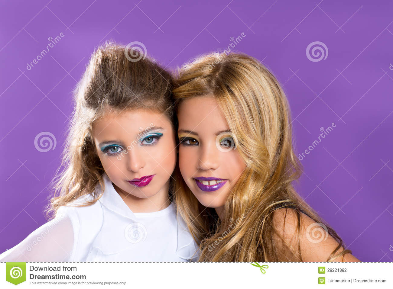 two friends fashiondoll kid girls with fashion purple