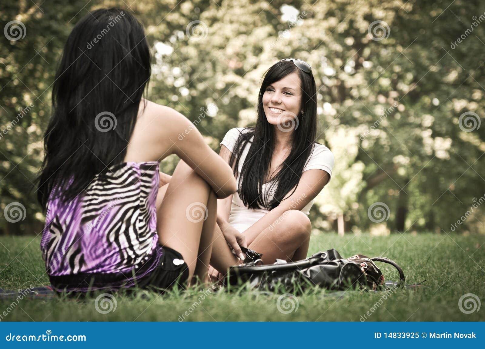 Two Friends Girls Talking Outside Royalty Free Stock