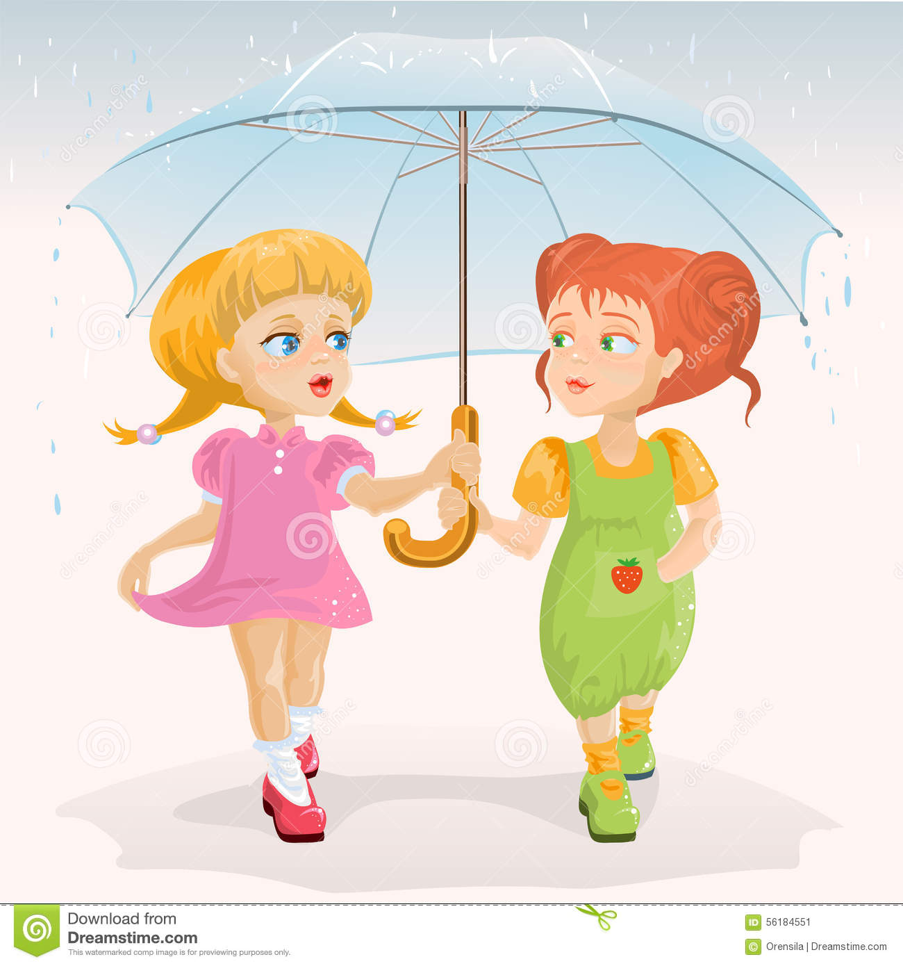 Two Friends Holding Umbrella Template Greeting Card Friendship Day Stock Vector Illustration Of Couple Holding 56184551