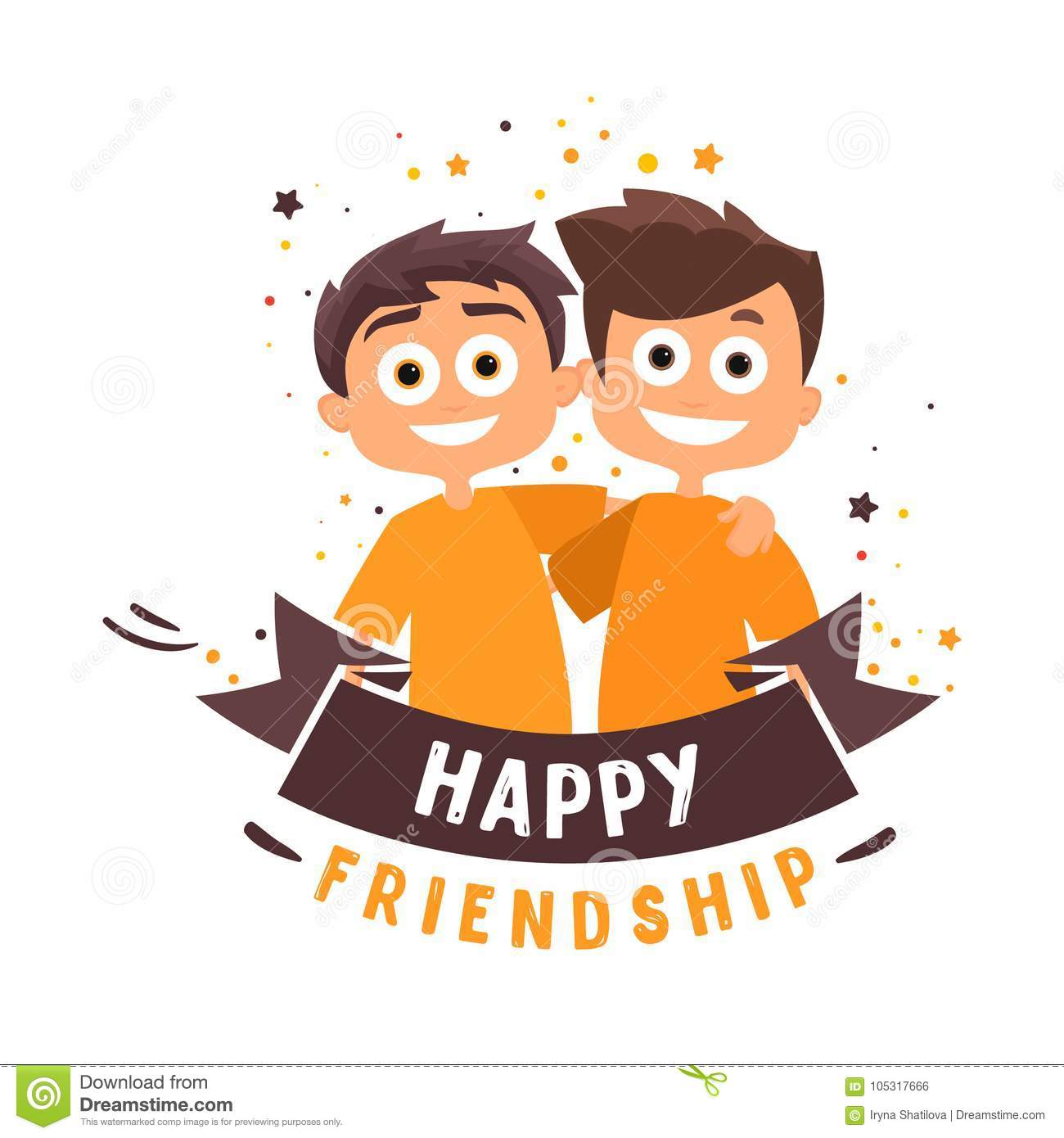 Two Friends Are Hugging Happy People Happy Friendship Day Vector Stock Vector Illustration Of Character Male 105317666