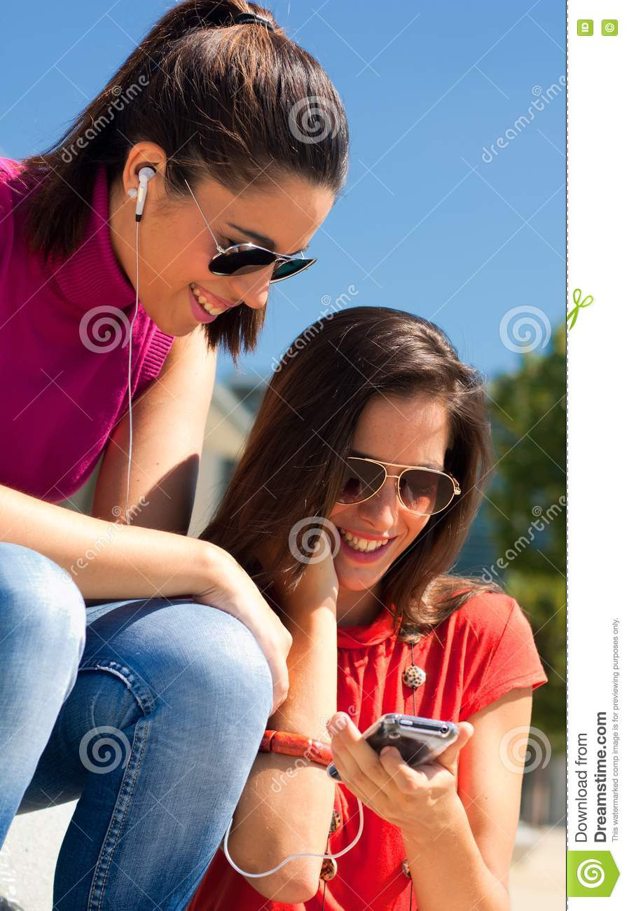 Two Friends Listening To Music Royalty Free Stock Photo ...