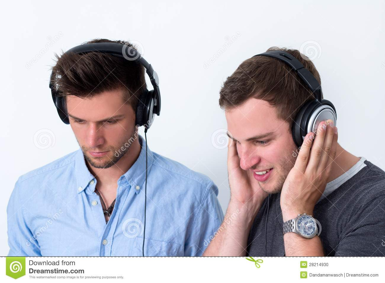 Two Friends Listening To Music Stock Photo - Image: 28214930