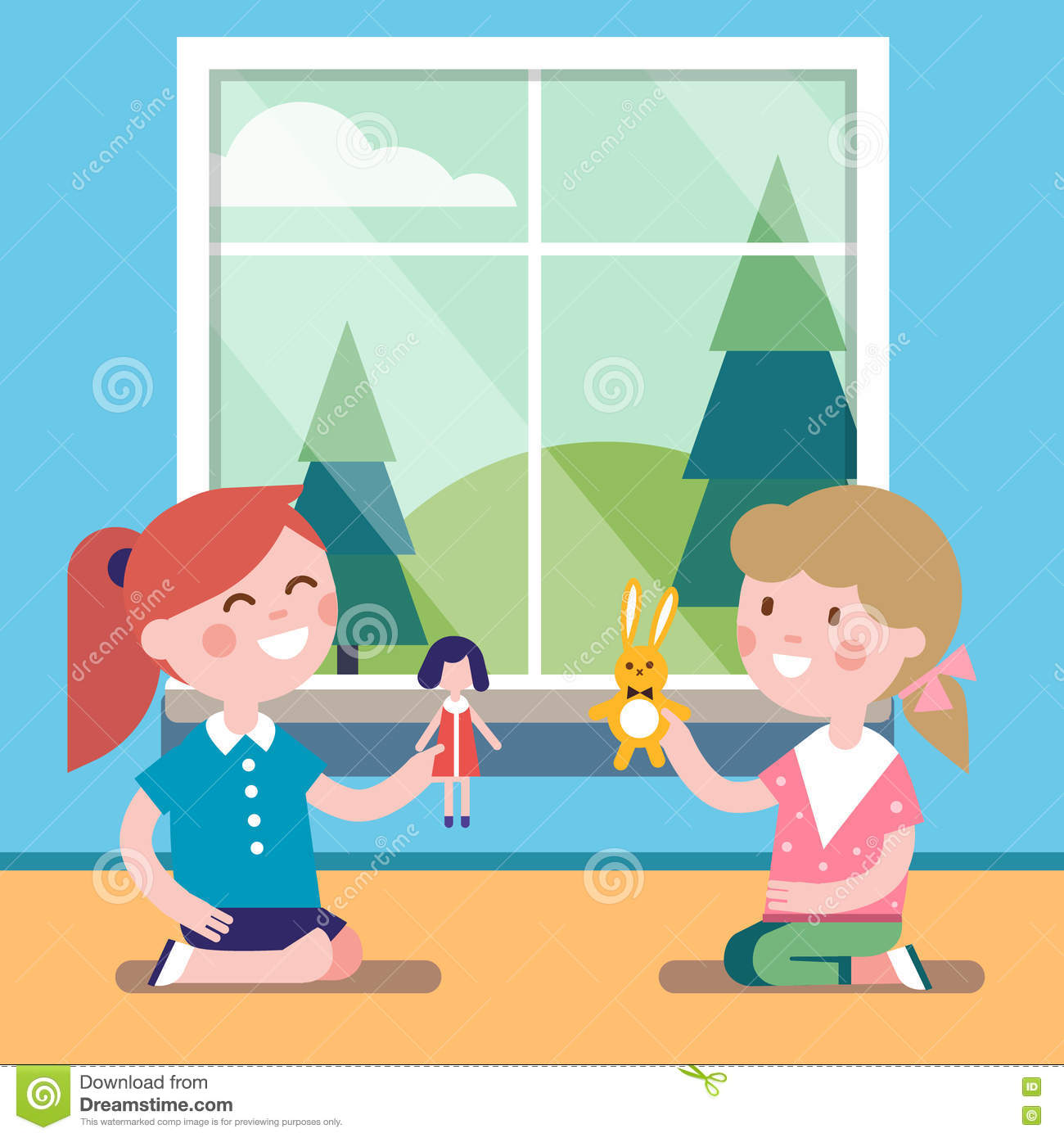 Two Friends Playing With Toy Dolls Together Stock Vector ...