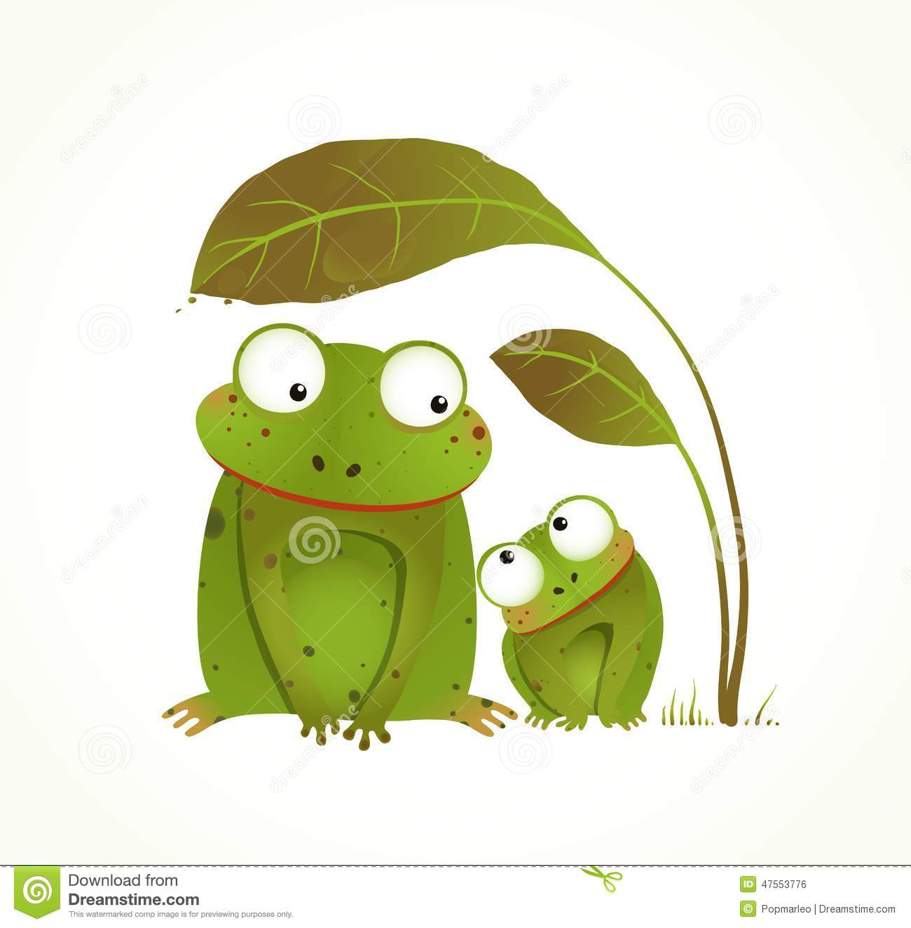 Two Frogs Mother And Baby Childish Animal Cartoon Stock ...