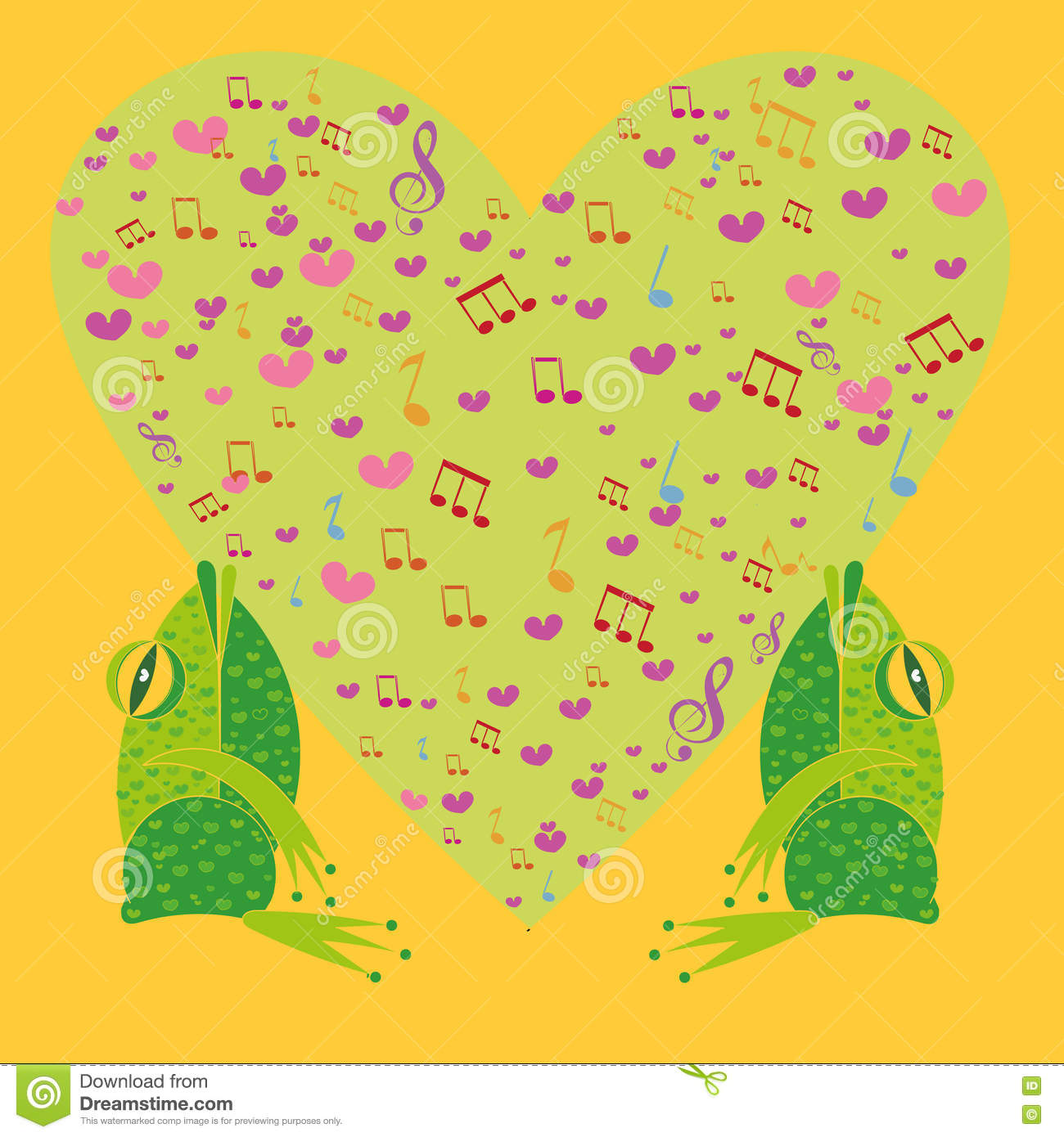 Two Frogs Singing In The Background Heart Illustration – Singing Valentine Cards