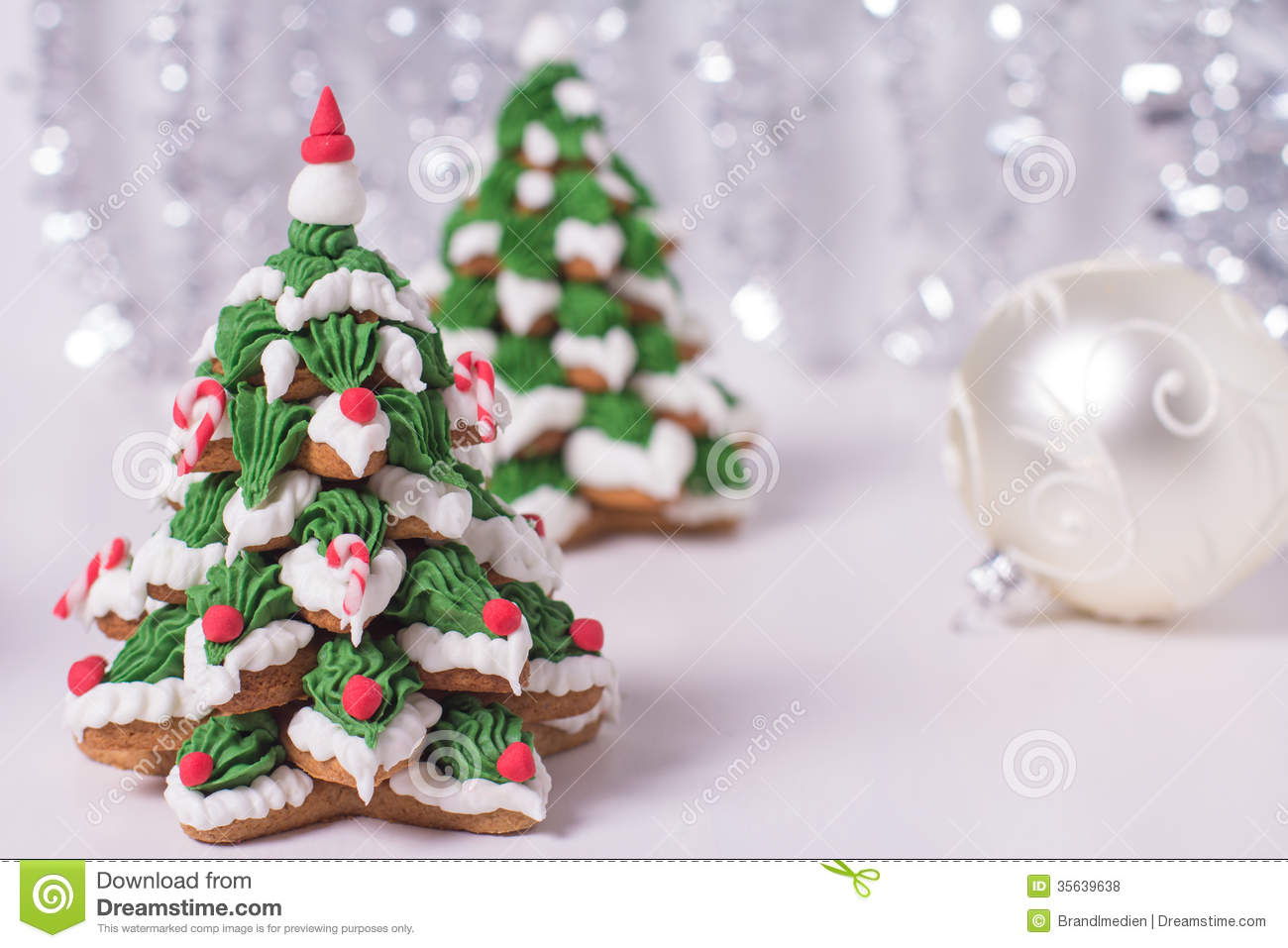 Two Frosted Gingerbread Christmas Trees Stock Photo Image Of