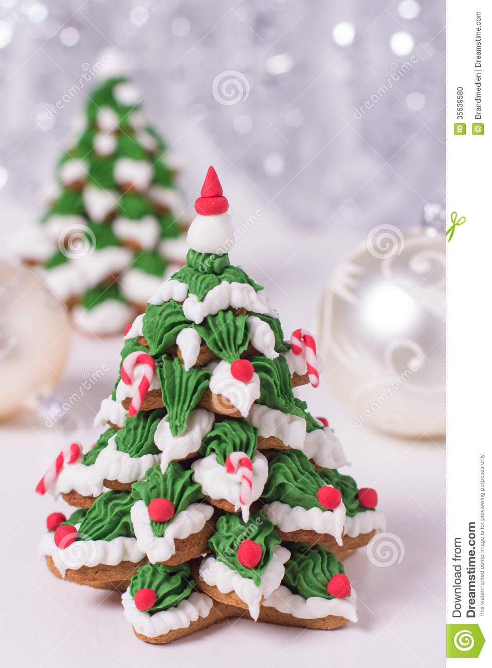 Two Frosted Gingerbread Cookies Stock Photo Image Of Dessert