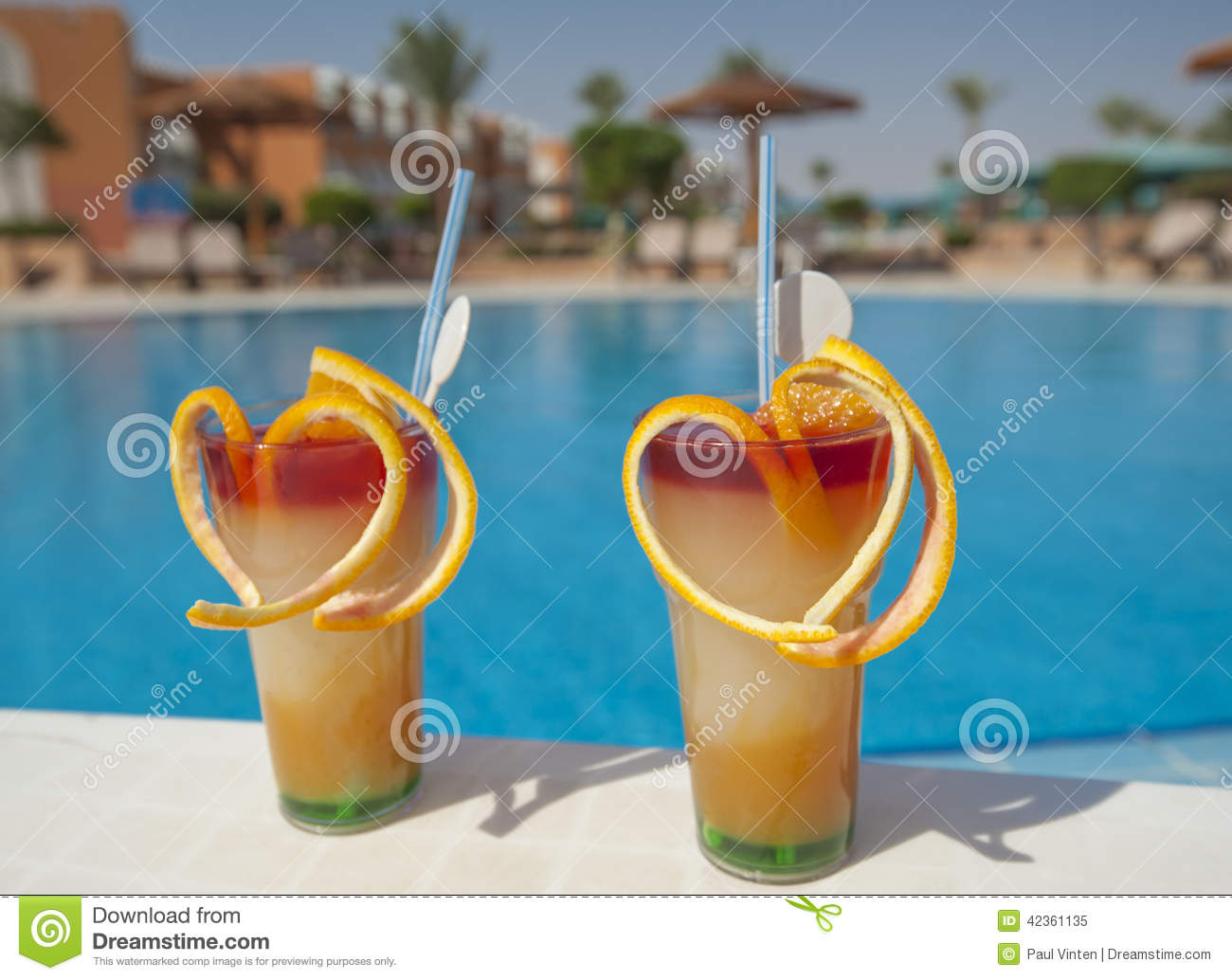 Two Fruit Cocktails By Pool Stock Image Image Of Holiday Fruit 42361135