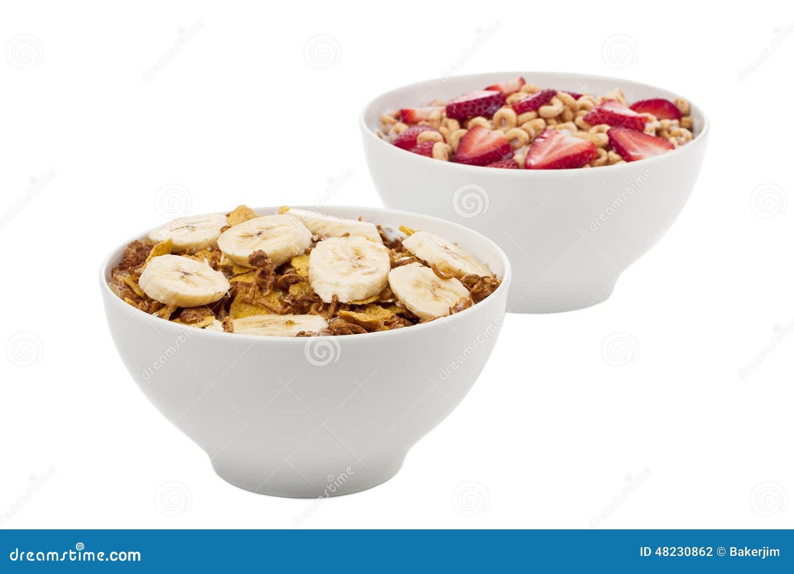 Two fruity breakfast cereal