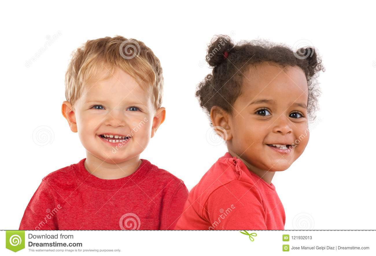 Two Funny Children Laughing Stock Image - Image of friends, brother