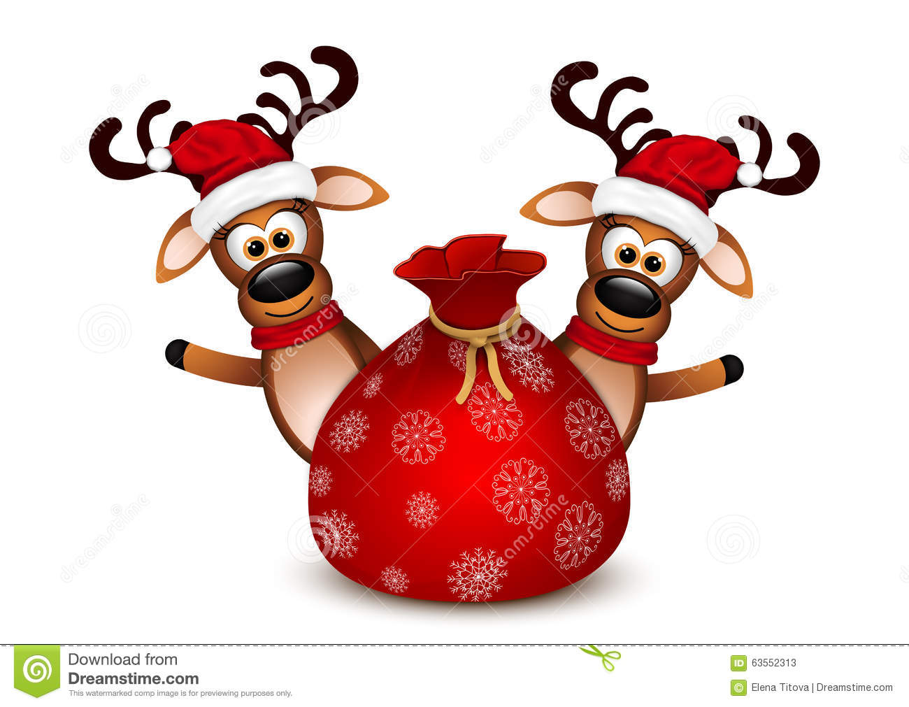 Two Funny Deer On Christmas Greeting Card. Stock ...