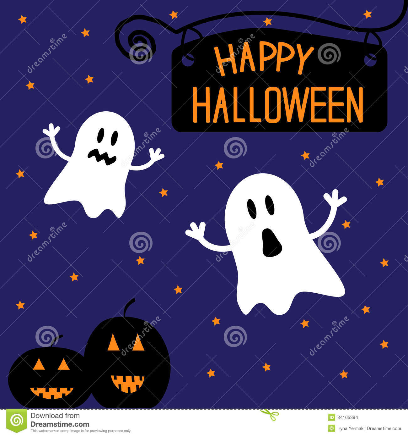 Two Funny Halloween Ghosts And Pumpkins. Starry Ni Stock