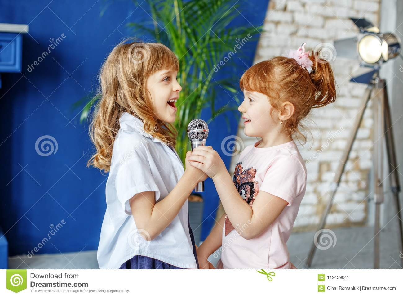 Two Funny Kids Sing A Song In Karaoke  The Concept Is