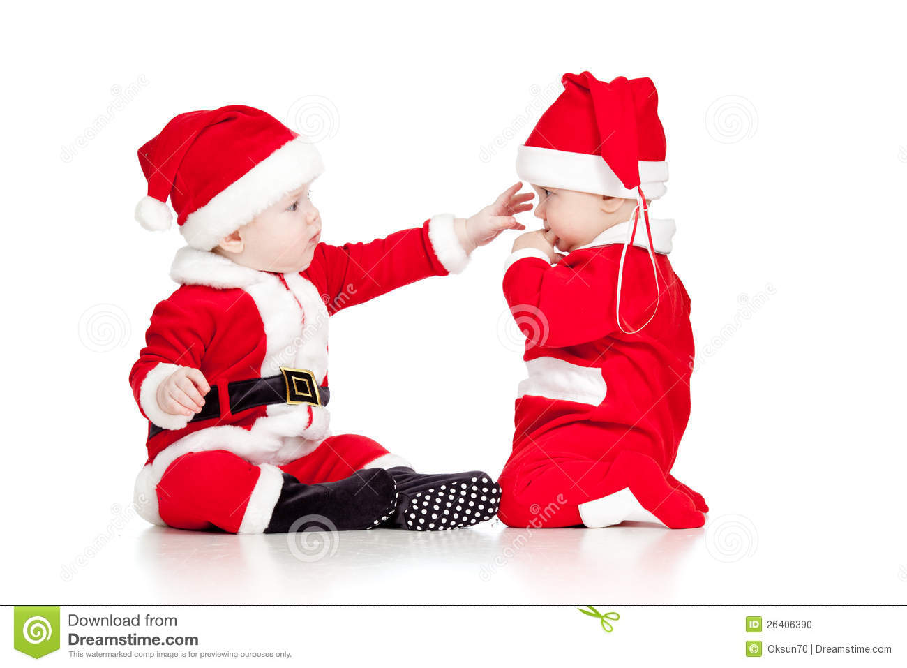 two funny small kids in santa claus clothes stock photo. Black Bedroom Furniture Sets. Home Design Ideas