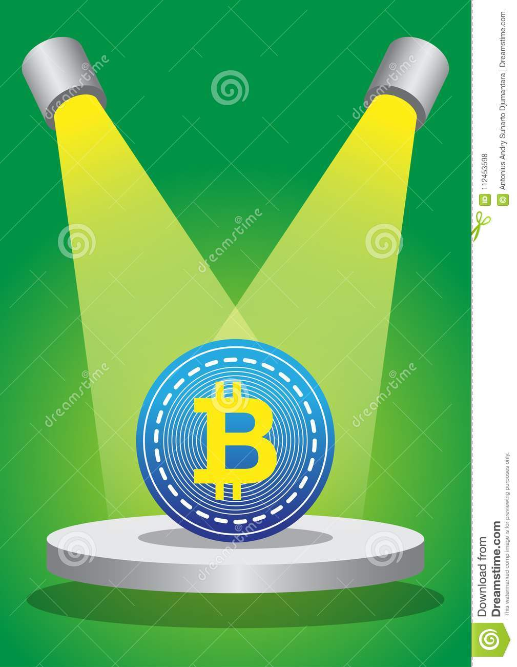 Download Two Gaint Down Light Spoting Bitcoin Superstar Stock Vector - Illustration of multiple, money