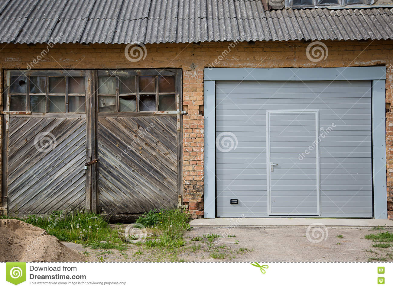 Two Garage Doors On House Stock Image Image Of Brick 80451561