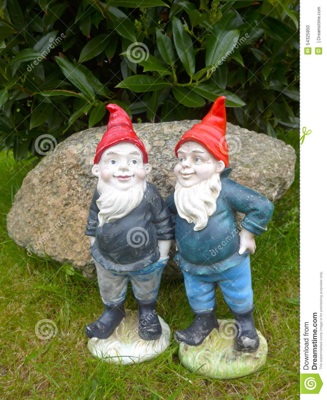 Funny Gnomes: Two Funny Garden Gnomes Stock Photo. Image Of Character