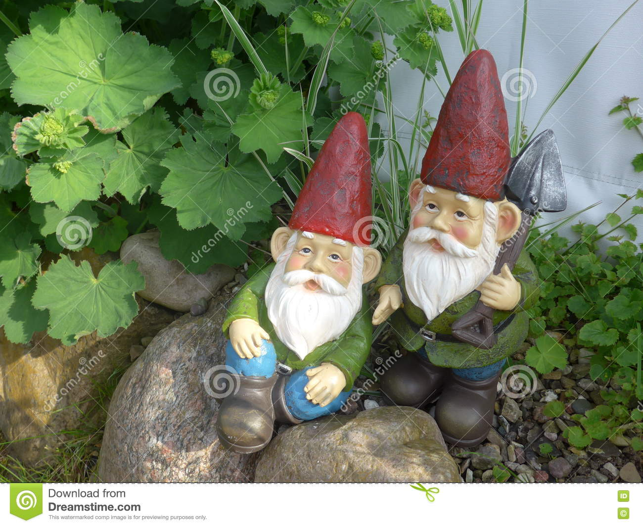 download two funny garden gnomes with red hats stock image image of artificial green - Funny Garden Gnomes