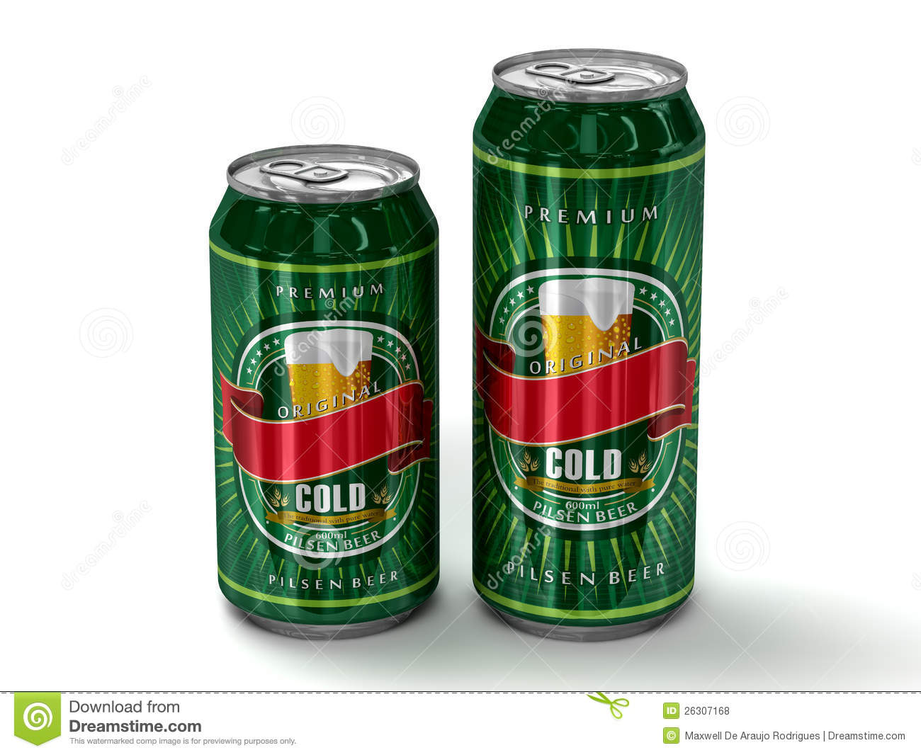 Two generic blank beer cans