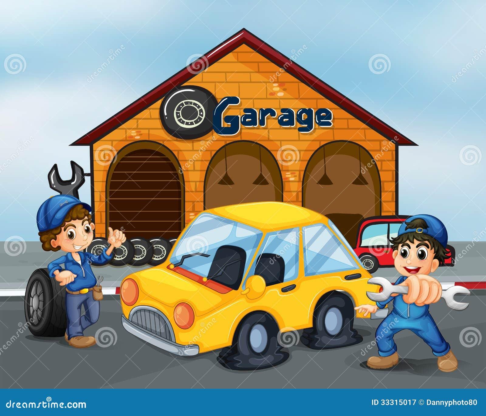 Gentleman S Garage : Two gentlemen with tools at the garage royalty free stock