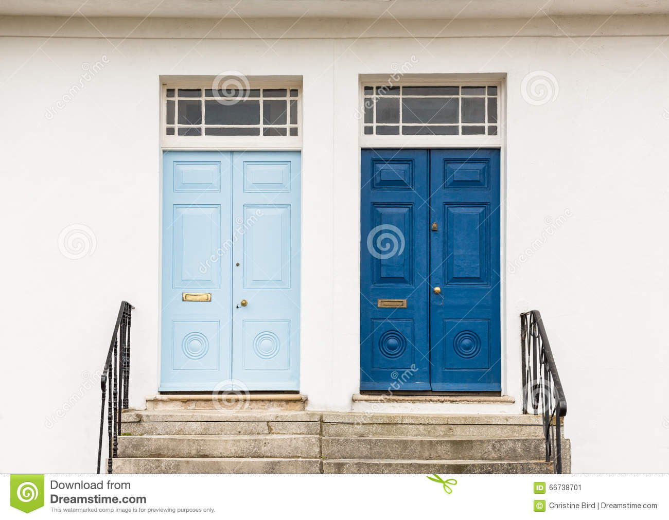 Two Georgian Style Front Entrance Doors Stock Image