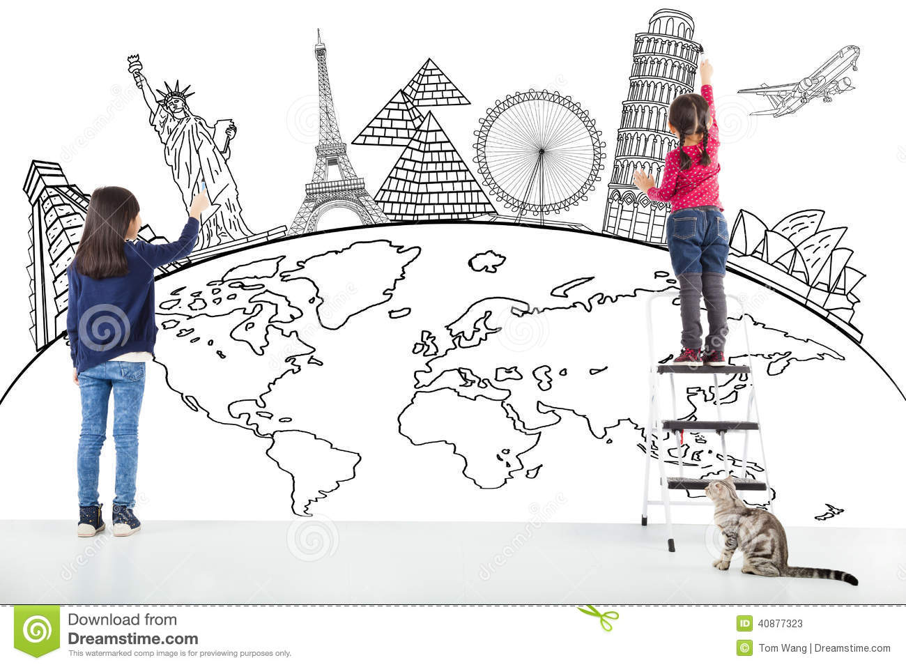Two girl kids drawing global map and famous landmark stock image two girl kids drawing global map and famous landmark gumiabroncs Choice Image