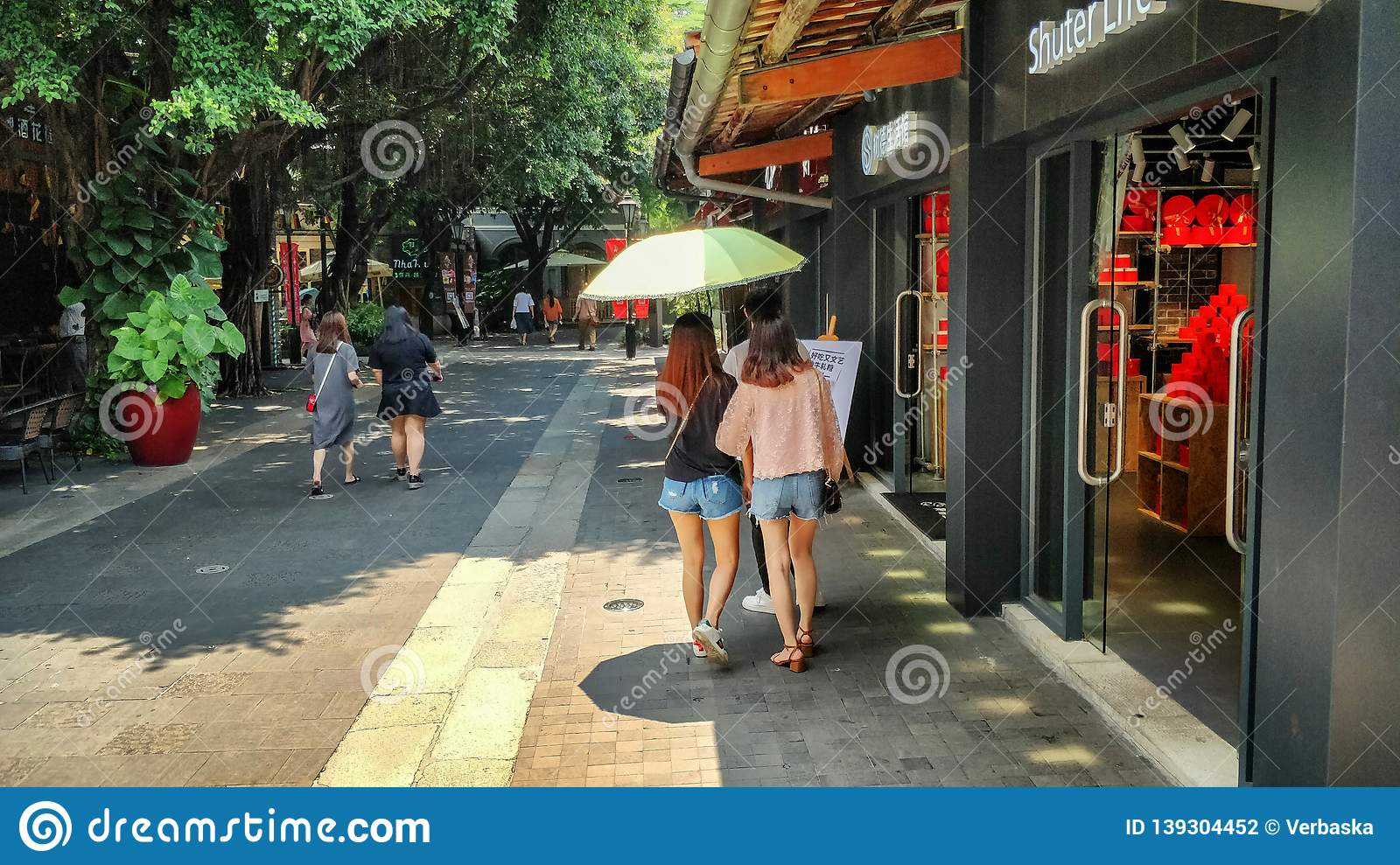 The alley with coffee shops and restaurants in Lingnan Tiandi district.