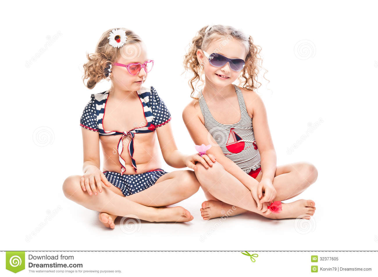 Two girls in bathing suits stock image Image of child