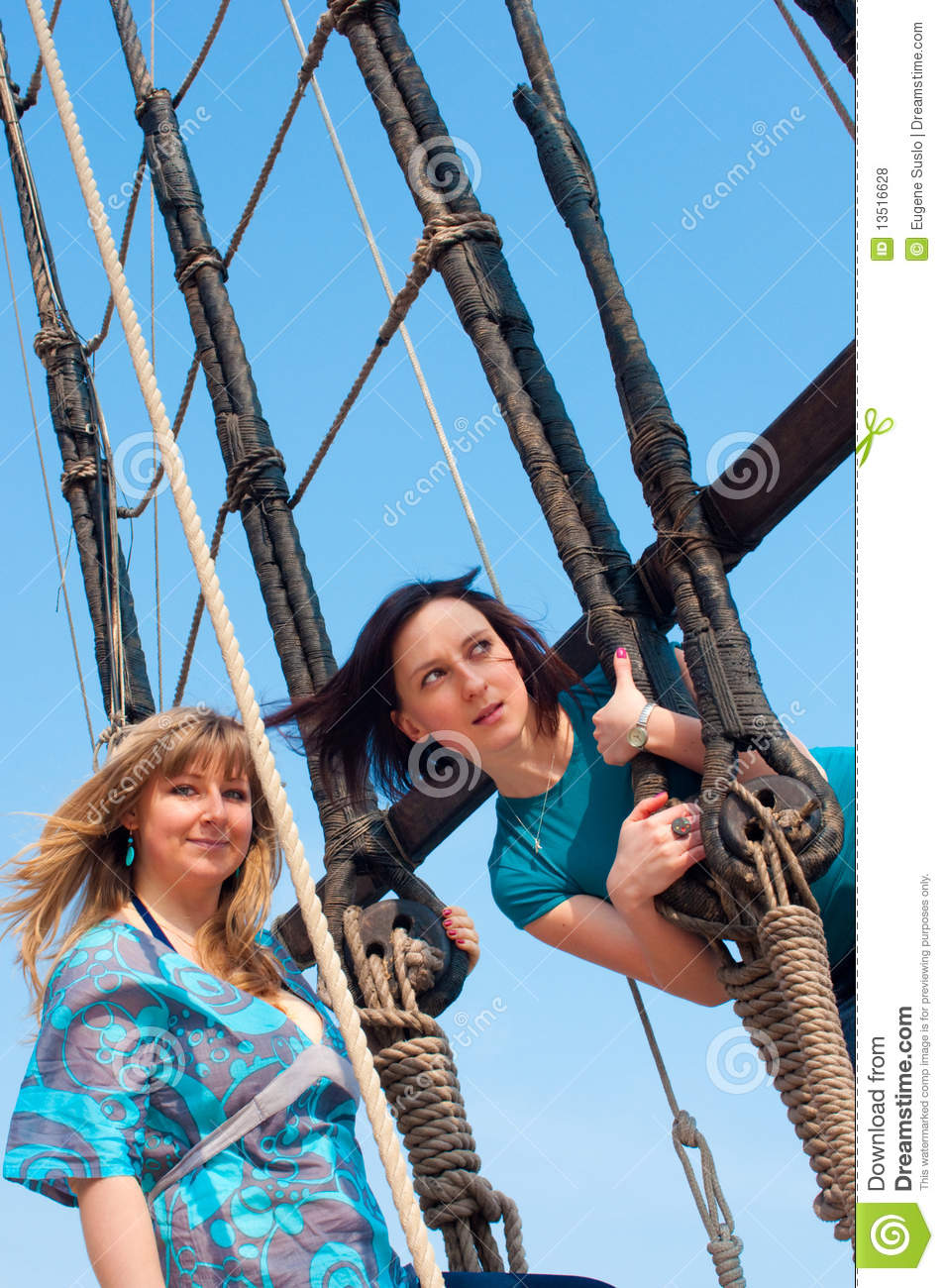 Two Girls On A Boat Royalty Free Stock Photos - Image ...