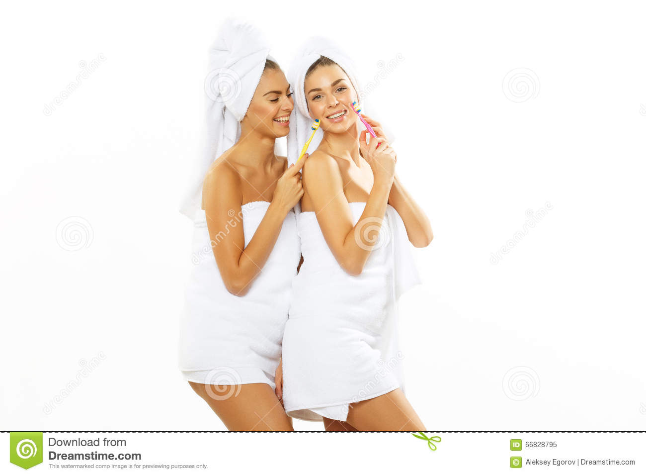 together showering Two girls