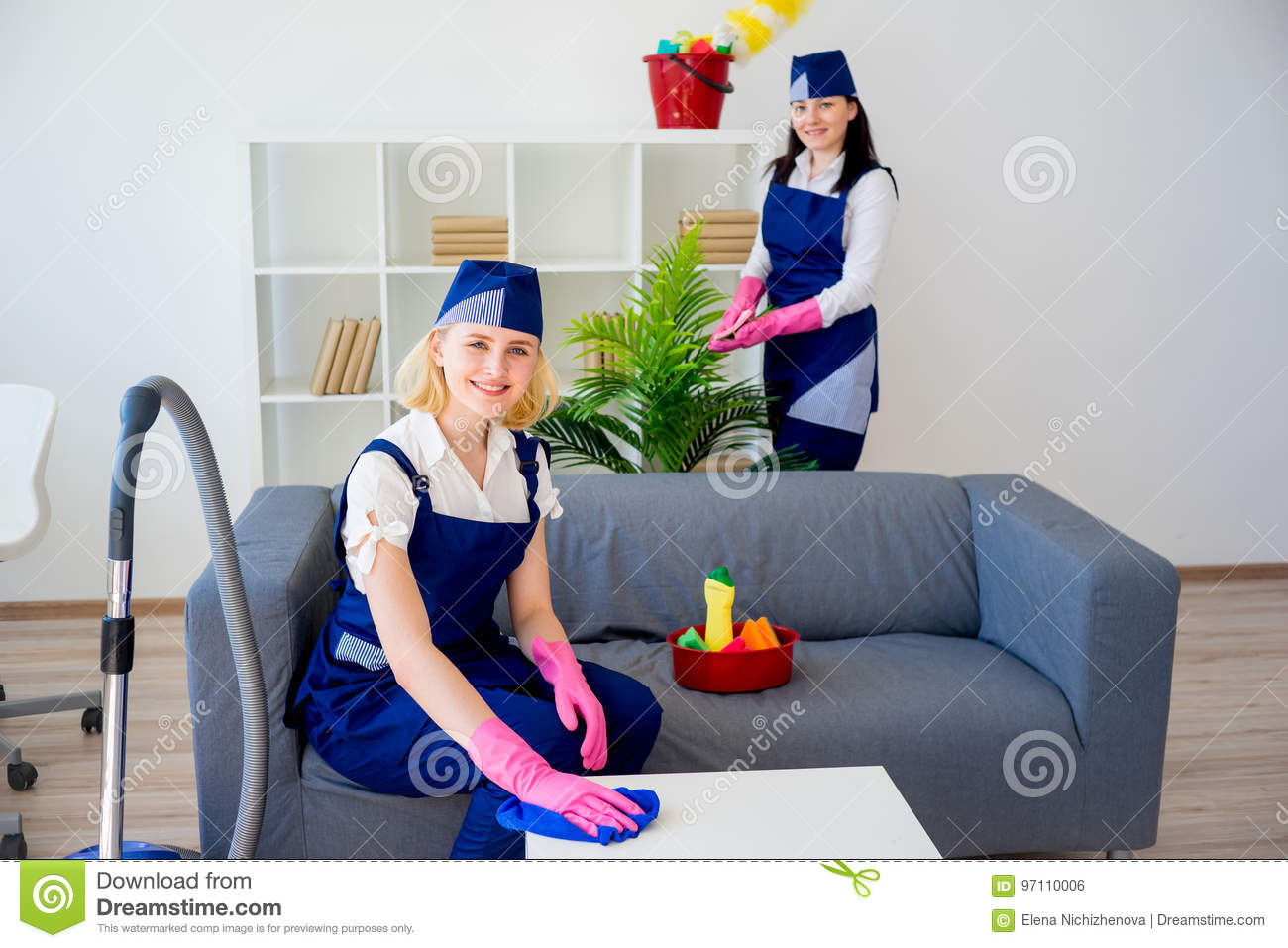 Brilliant Two Girls Of Cleaning Service Stock Photo Image Of Download Free Architecture Designs Viewormadebymaigaardcom