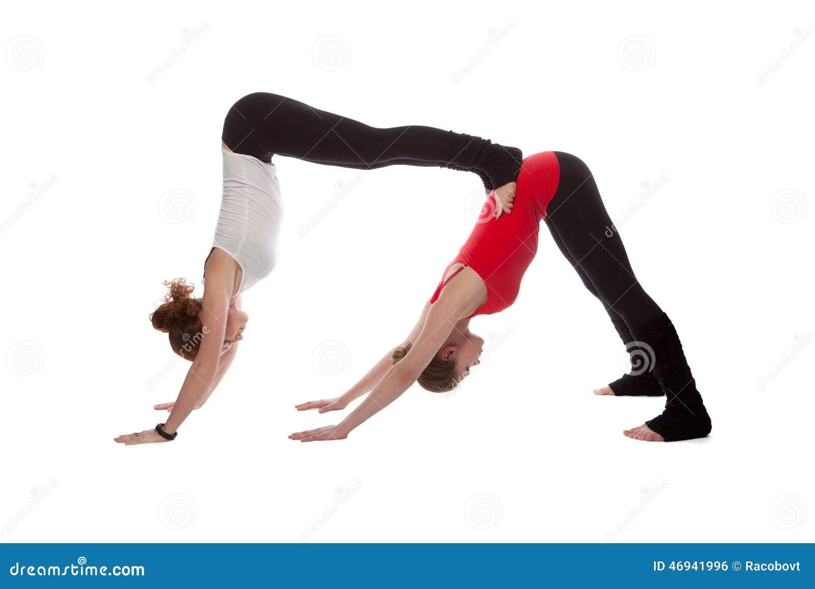 two girls doing yoga stock photo image 46941996
