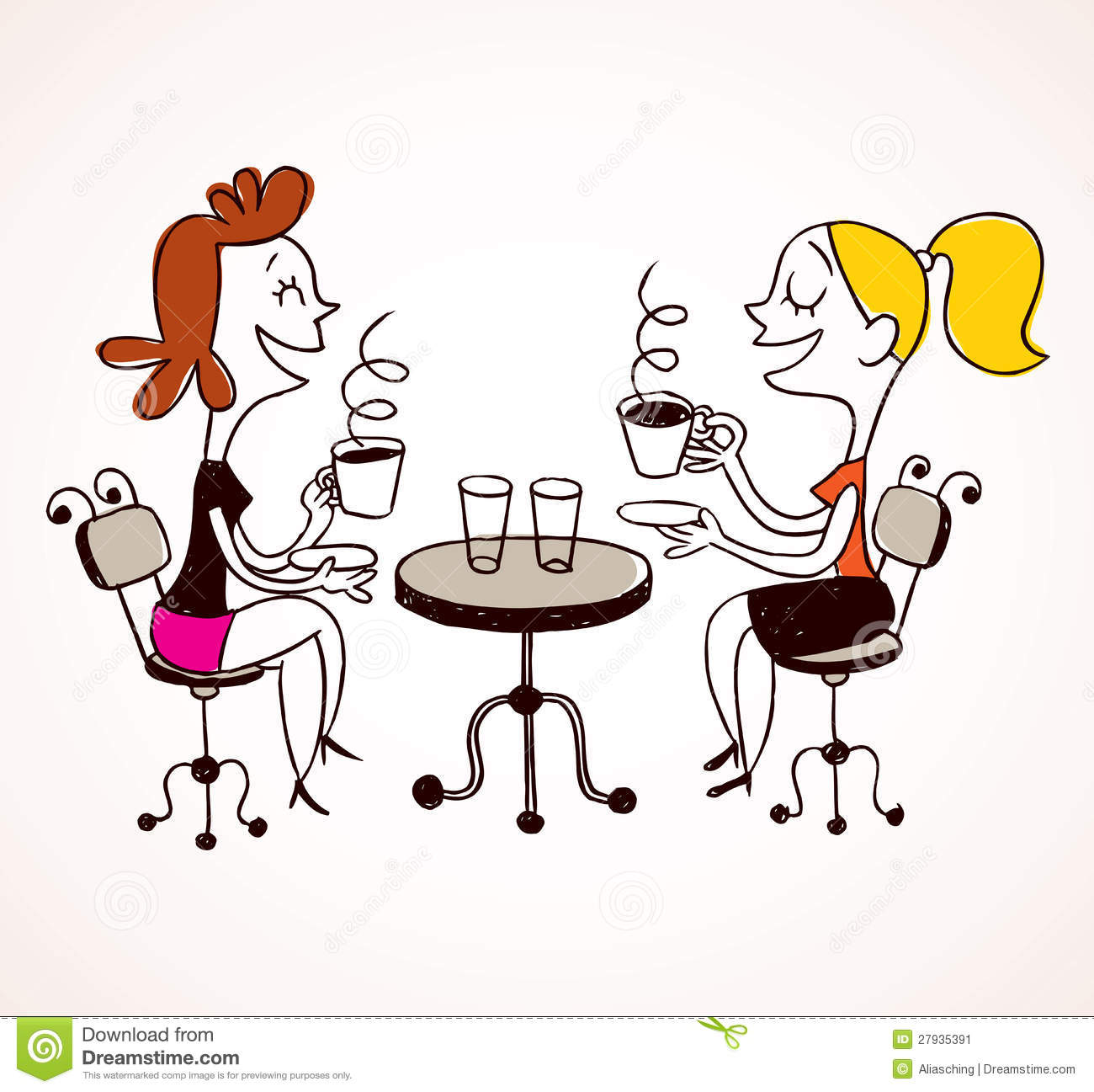 Two girls drinking coffee stock vector. Illustration of ...