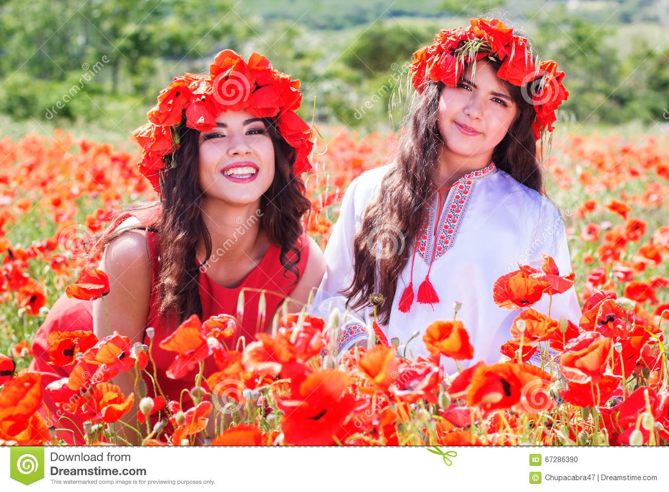 Two Girls In A Field Of Poppy Flowers Stock Photo Image Of Person