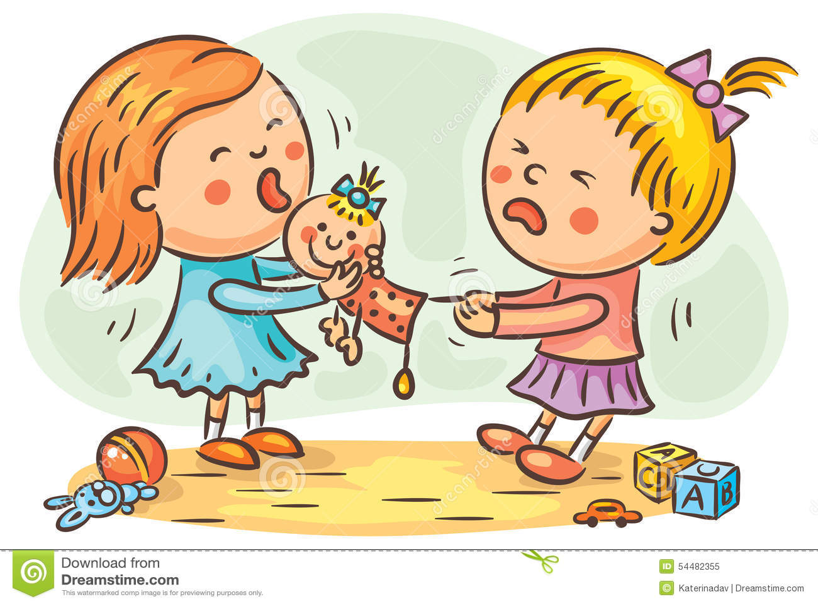 two girls fighting stock illustration. illustration of cartoon