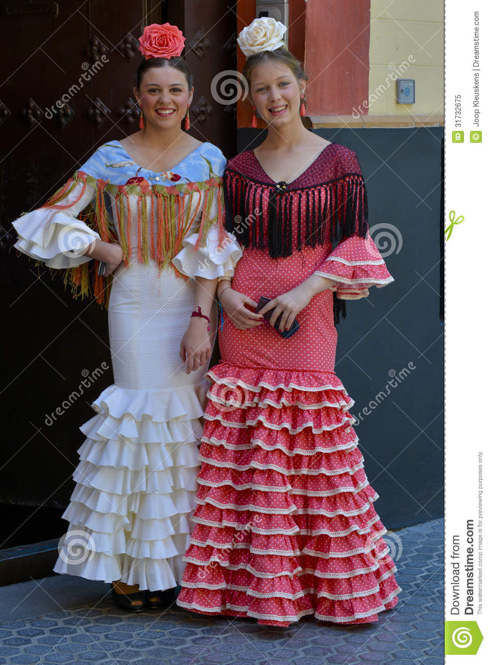 two girls with flamenco dresses editorial image image of