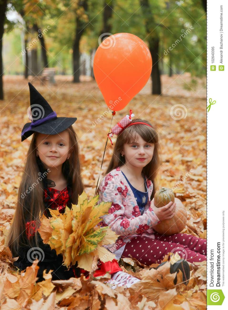 download two girls in halloween costumes stock image image of candy park 102640395