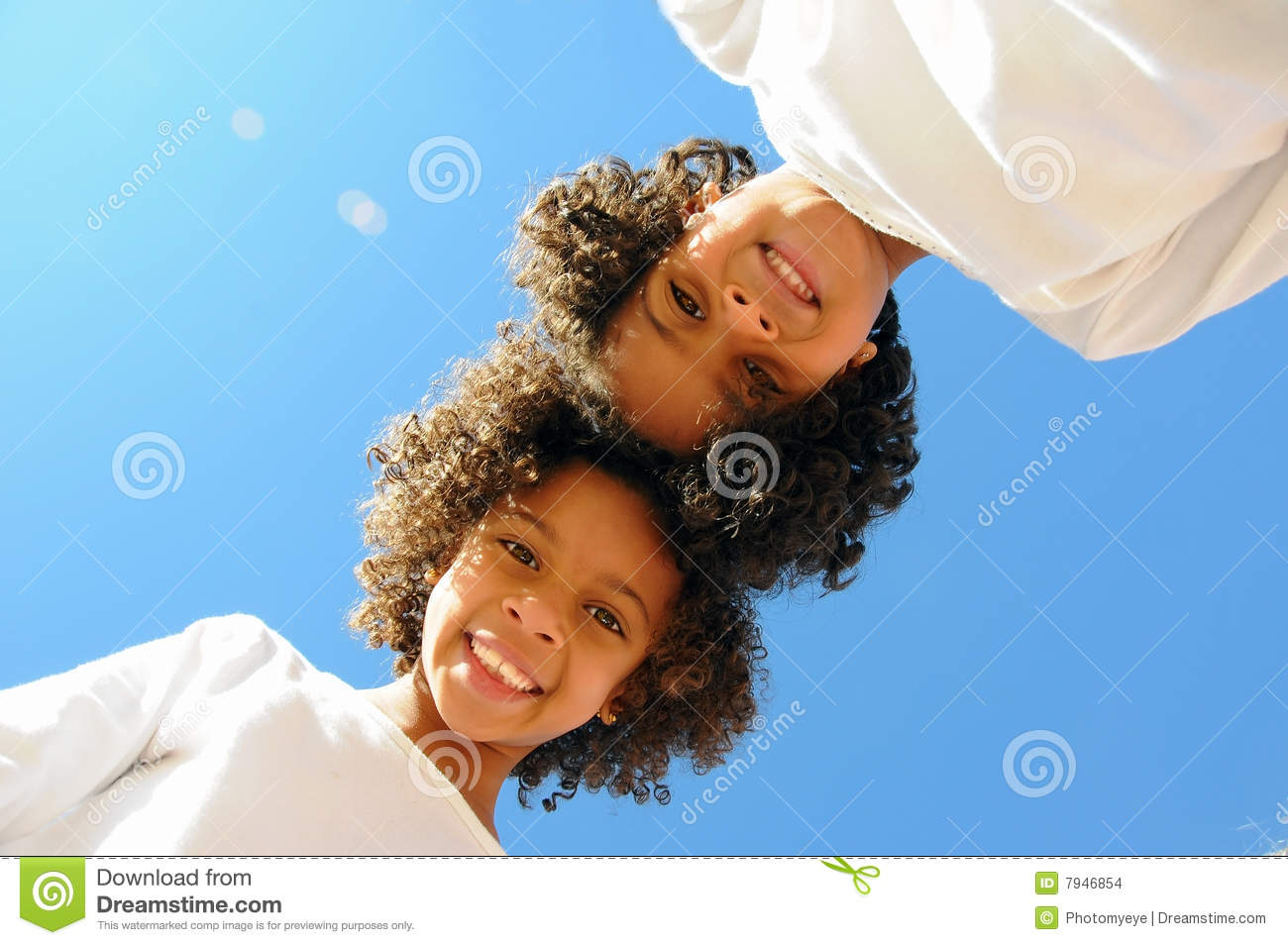 Two girls head to head stock photo. Image of white, view ...