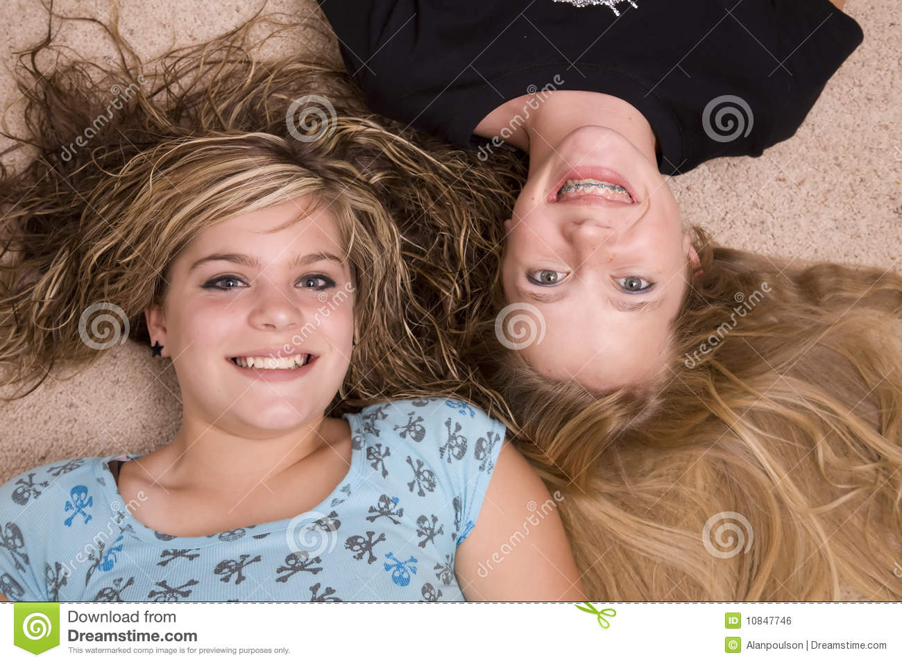 Two Girls With Heads Together Royalty Free Stock Image ...