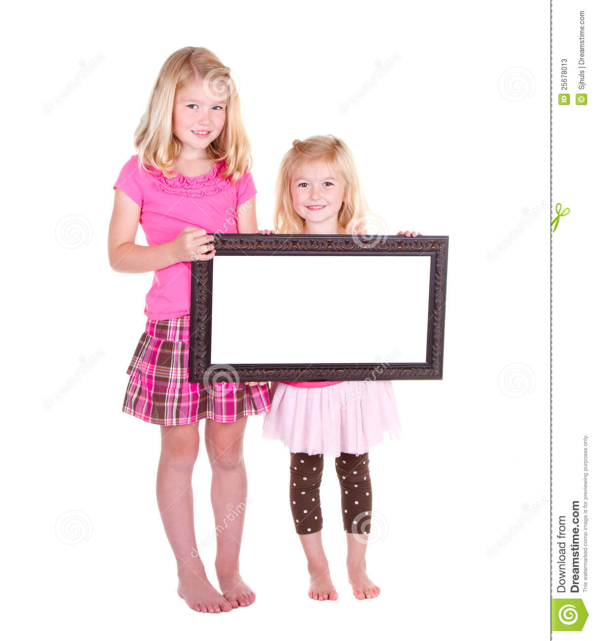 Two Girls Holding A Blank Frame Stock Image - Image of copy ...