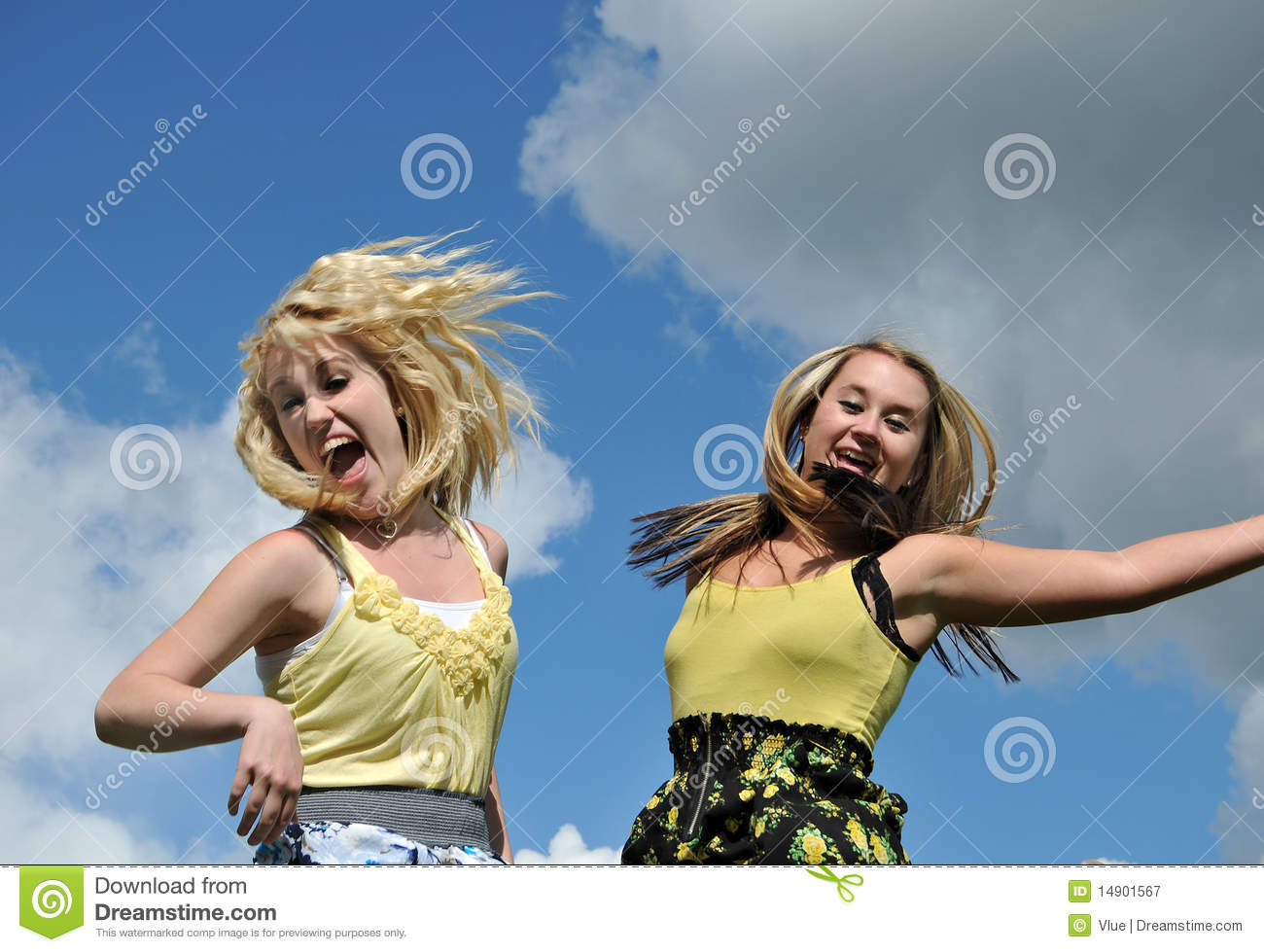 Two girls jumping in the sky