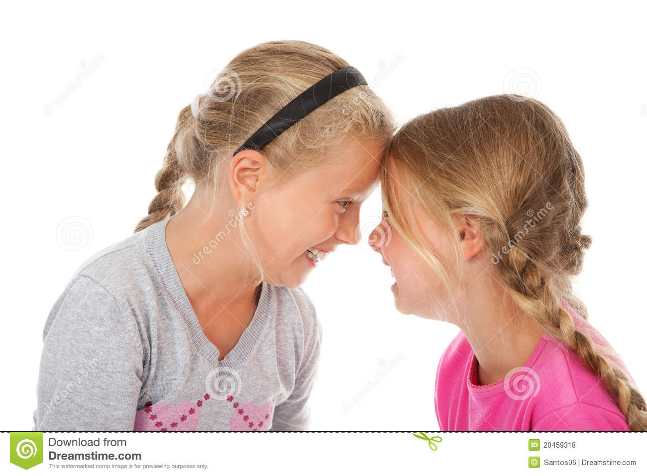 Two Girls Laughing Heads Together Royalty Free Stock ...