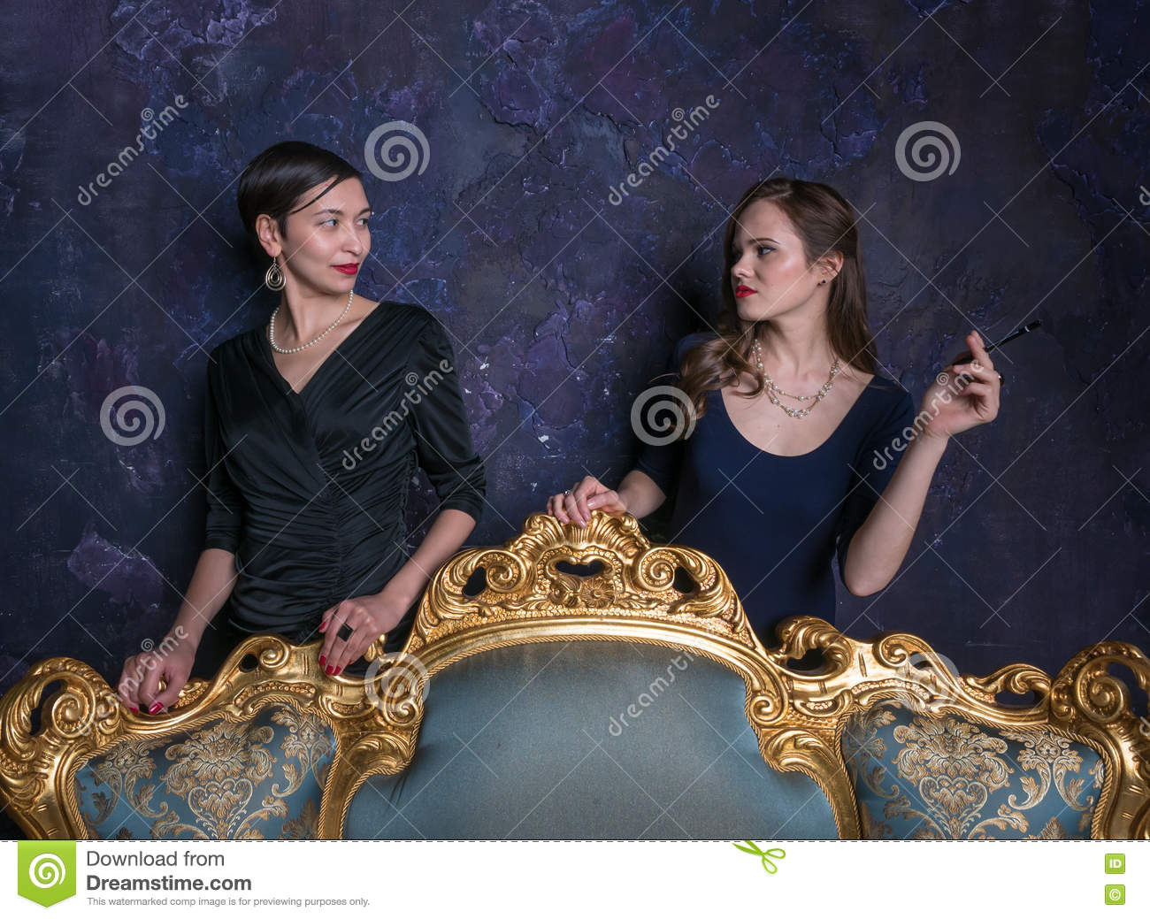 Two Girls Look At Each Other. Haughty Eyes. A Scene From ...