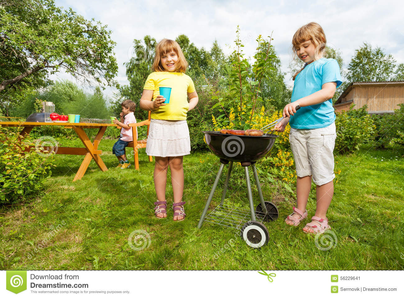 Two girls near grill making bbq in the garden stock image for Making things for the garden