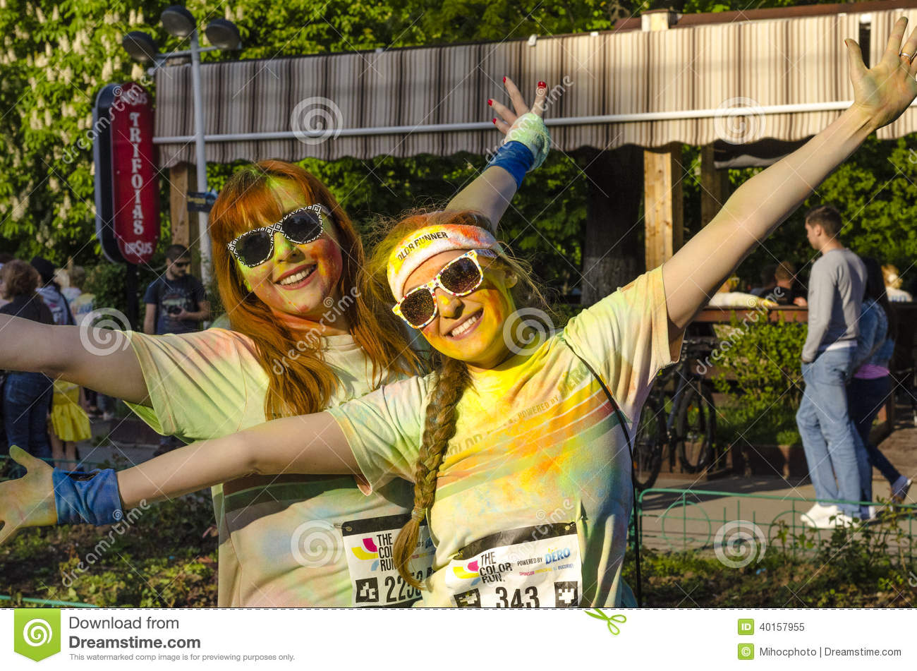 Two girls painted at Color Run Bucharest