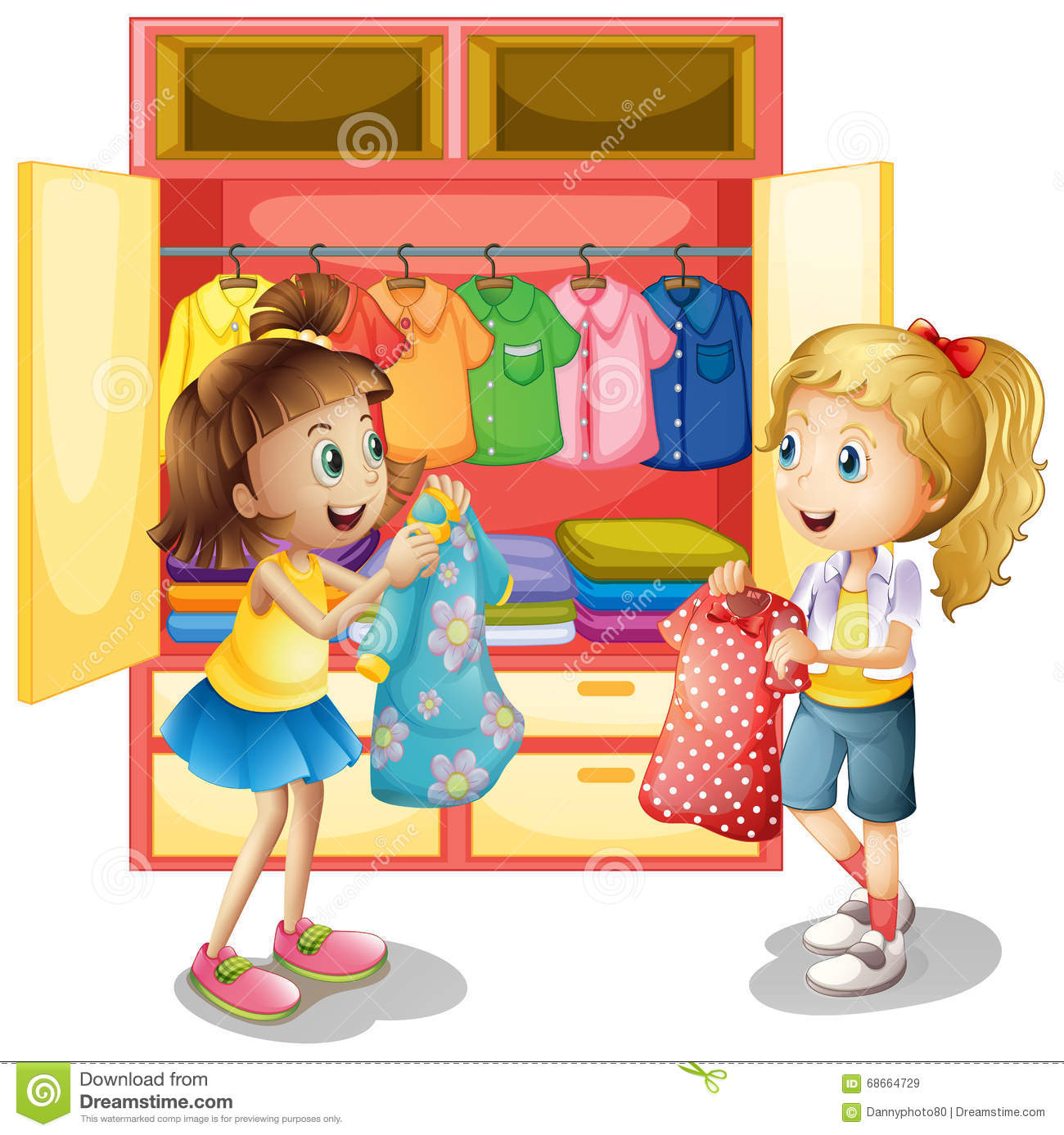 Two Girls Picking Out Clothes From Closet Stock Vector ...