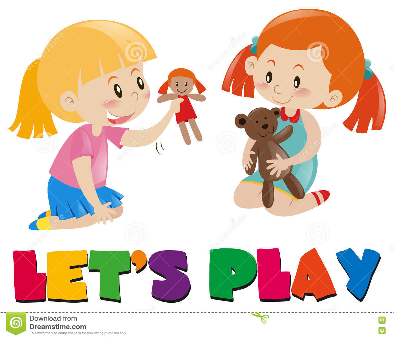 Two Girls Playing With Dolls Stock Vector - Image: 78348652 Playing With Dolls Clip Art