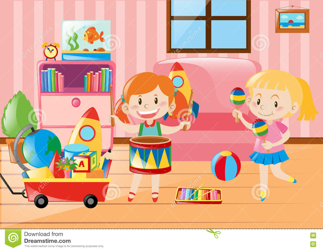Two Girls Playing In Living Room Full Of Toys Stock Vector