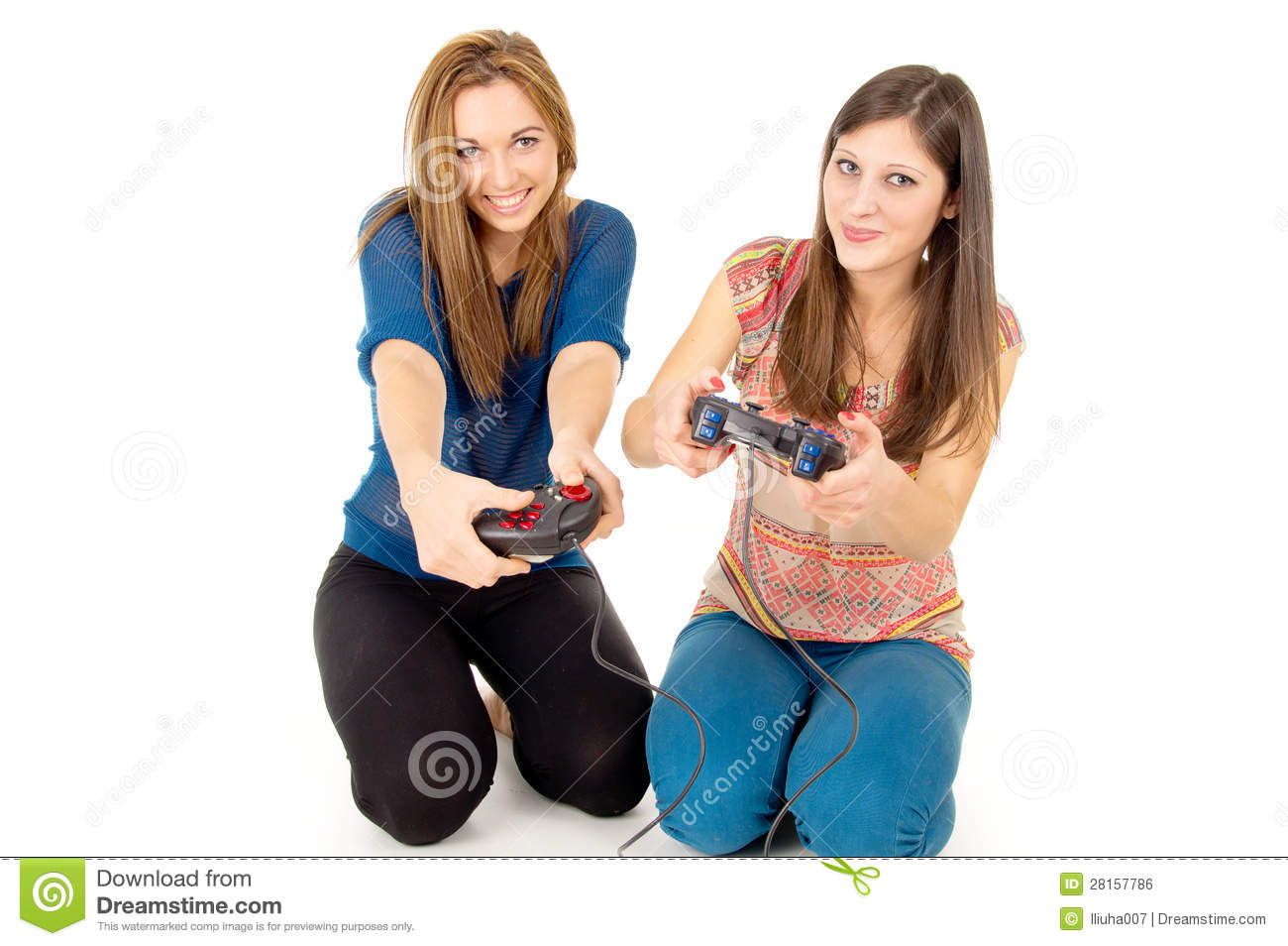 Two Girls Are Playing Video Games Isolated Royalty Free -9457